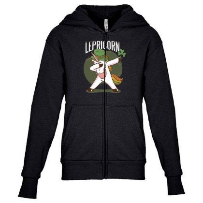 Unicorn Leprechaun Youth Zipper Hoodie Designed By Dirjaart
