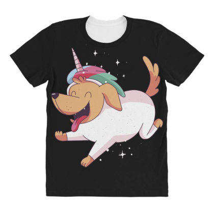 Unicorn Dog All Over Women's T-shirt Designed By Dirjaart