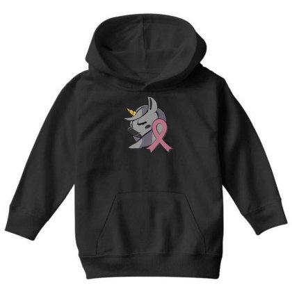 Unicorn Breast Cancer Youth Hoodie Designed By Dirjaart