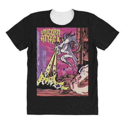 Unicorn Attack All Over Women's T-shirt Designed By Dirjaart