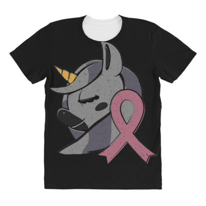 Unicorn Breast Cancer All Over Women's T-shirt Designed By Dirjaart