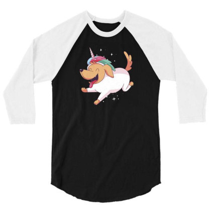 Unicorn Dog 3/4 Sleeve Shirt Designed By Dirjaart