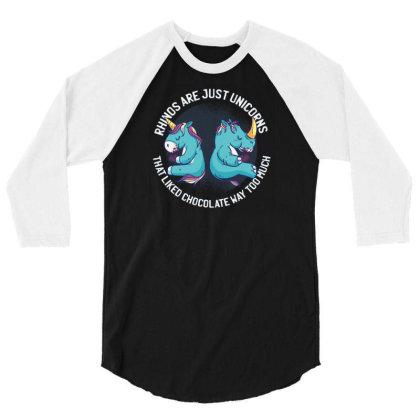 Unicorn And Rhino 3/4 Sleeve Shirt Designed By Dirjaart