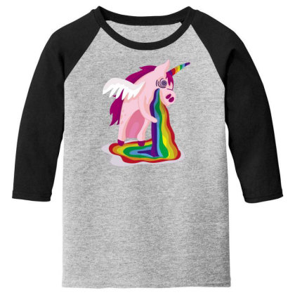 Unicorn Rainbow Youth 3/4 Sleeve Designed By Dirjaart