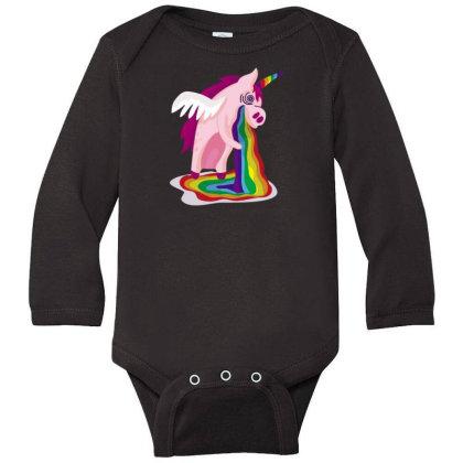 Unicorn Rainbow Long Sleeve Baby Bodysuit Designed By Dirjaart