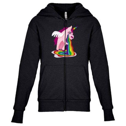 Unicorn Rainbow Youth Zipper Hoodie Designed By Dirjaart