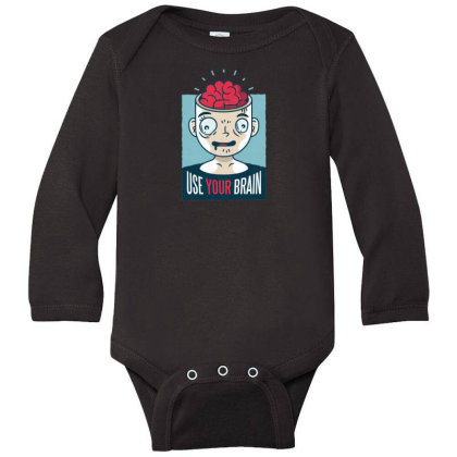 Use Your Brain Long Sleeve Baby Bodysuit Designed By Dirjaart