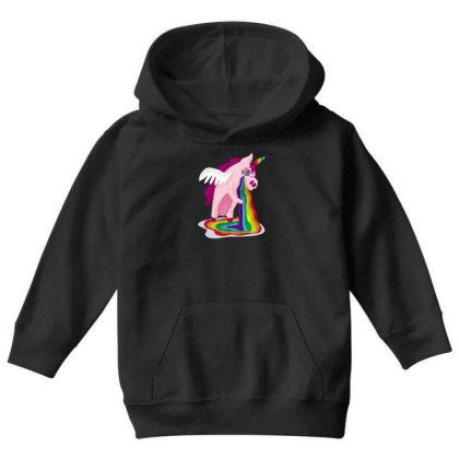 Unicorn Rainbow Youth Hoodie Designed By Dirjaart