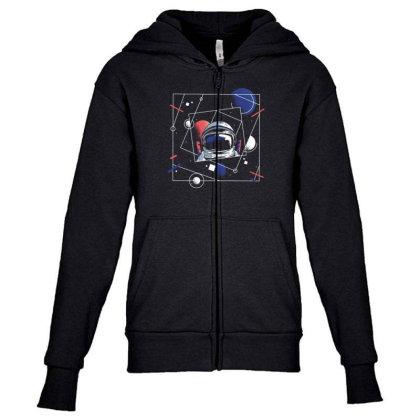 Universe Astronaut Youth Zipper Hoodie Designed By Dirjaart