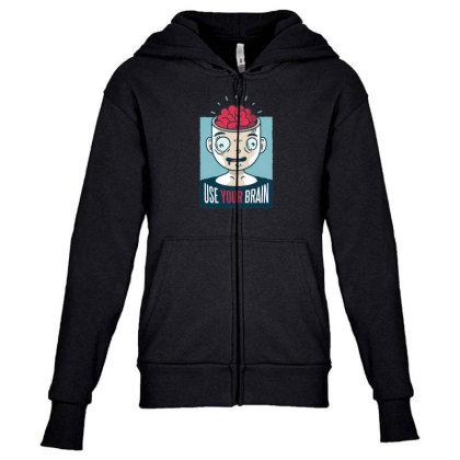 Use Your Brain Youth Zipper Hoodie Designed By Dirjaart