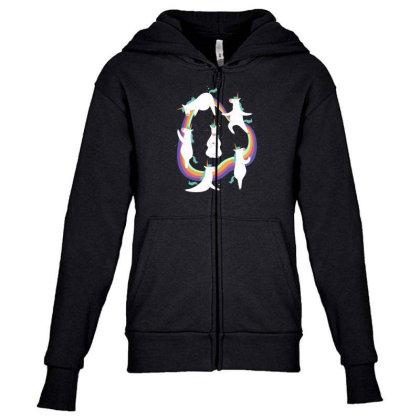 Unicorn Yoga Youth Zipper Hoodie Designed By Dirjaart