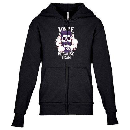 Vape Skull Youth Zipper Hoodie Designed By Dirjaart