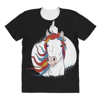 Unicorn Middle Finger All Over Women's T-shirt Designed By Dirjaart