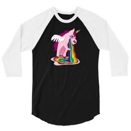 Unicorn Rainbow 3/4 Sleeve Shirt Designed By Dirjaart