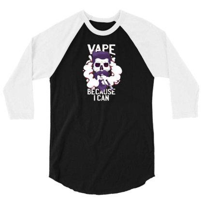 Vape Skull 3/4 Sleeve Shirt Designed By Dirjaart