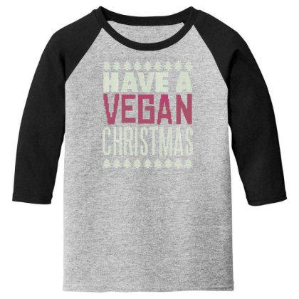 Vegan Christmas Youth 3/4 Sleeve Designed By Dirjaart