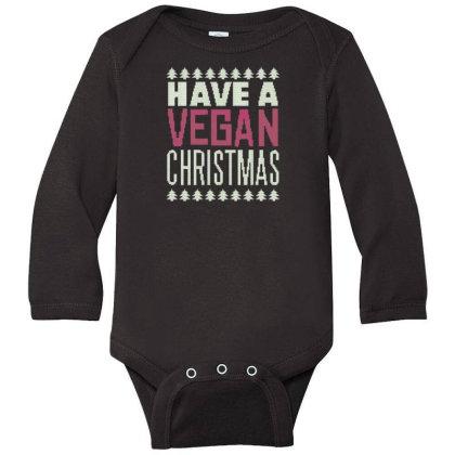 Vegan Christmas Long Sleeve Baby Bodysuit Designed By Dirjaart
