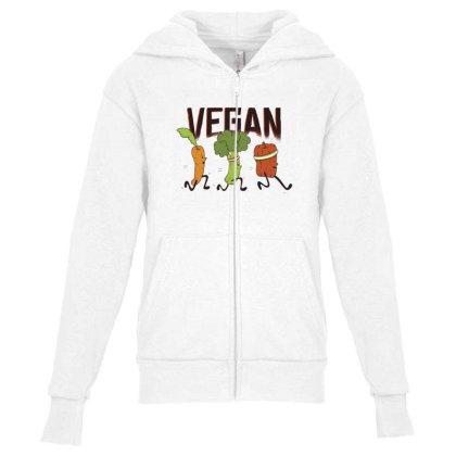 Vegan Runners Youth Zipper Hoodie Designed By Dirjaart