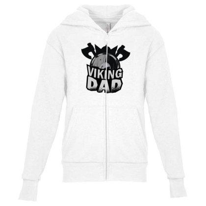 Viking Dad Youth Zipper Hoodie Designed By Dirjaart