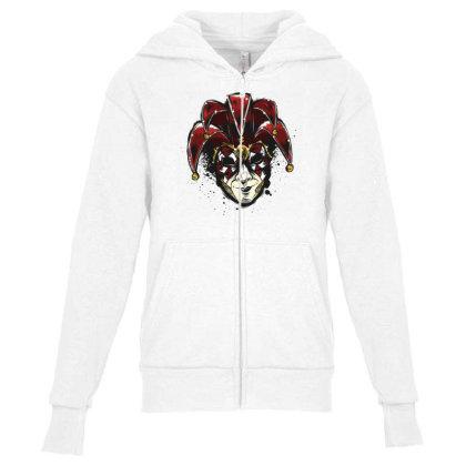 Venetian Mask Youth Zipper Hoodie Designed By Dirjaart