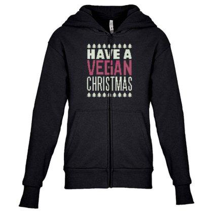 Vegan Christmas Youth Zipper Hoodie Designed By Dirjaart