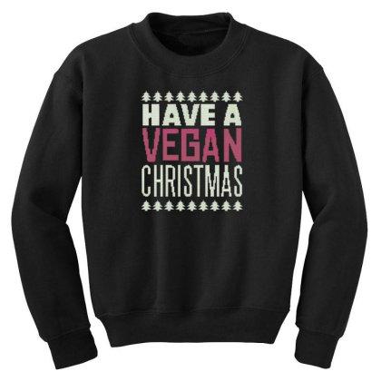 Vegan Christmas Youth Sweatshirt Designed By Dirjaart