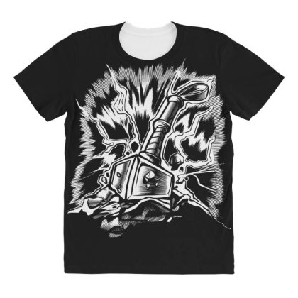 Viking Hammer All Over Women's T-shirt Designed By Dirjaart