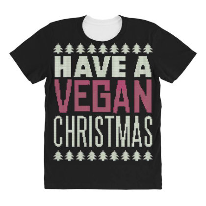 Vegan Christmas All Over Women's T-shirt Designed By Dirjaart