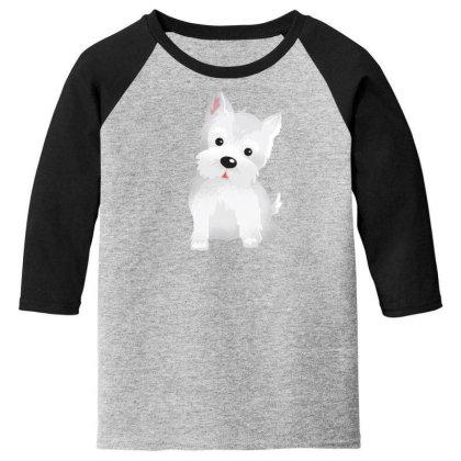 Westie Dog Cute Youth 3/4 Sleeve Designed By Dirjaart