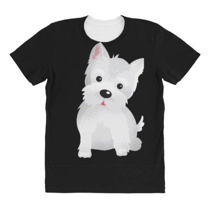 Westie Dog Cute All Over Women's T-shirt Designed By Dirjaart