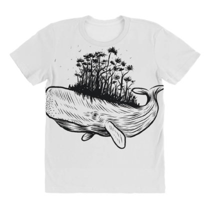 Whale Forest All Over Women's T-shirt Designed By Dirjaart