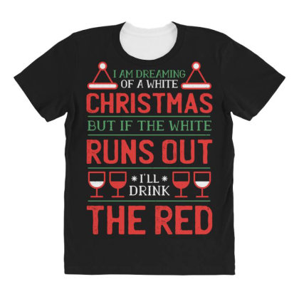 Wine Christmas All Over Women's T-shirt Designed By Dirjaart