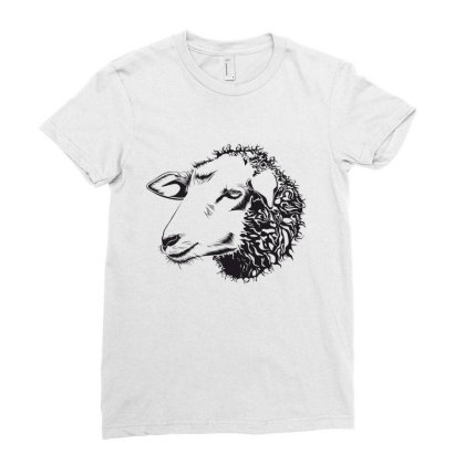 Sheep Ladies Fitted T-shirt Designed By Estore