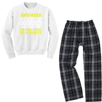 Engineer Level Of Sarcasm Funny Engineering Tee Youth Sweatshirt Pajama Set Designed By Cogentprint