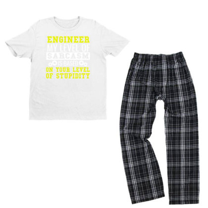 Engineer Level Of Sarcasm Funny Engineering Tee Youth T-shirt Pajama Set Designed By Cogentprint