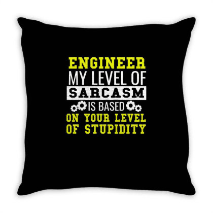 Engineer Level Of Sarcasm Funny Engineering Tee Throw Pillow Designed By Cogentprint