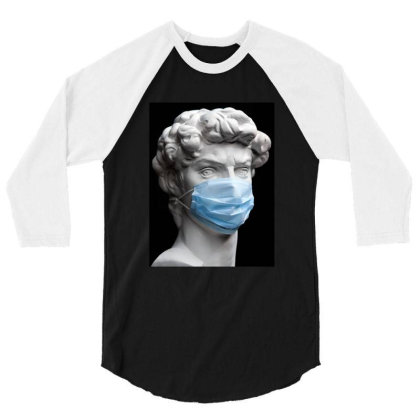 Medical Mask Sculpture 3/4 Sleeve Shirt Designed By Honeysuckle