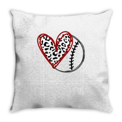 Baseball Leopard Heart Throw Pillow Designed By Badaudesign