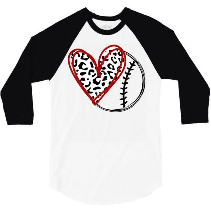 Baseball Leopard Heart 3/4 Sleeve Shirt Designed By Badaudesign