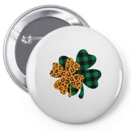 Leopard Printed Lucky Shamrock Pin-back Button Designed By Badaudesign