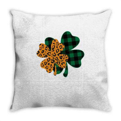 Leopard Printed Lucky Shamrock Throw Pillow Designed By Badaudesign