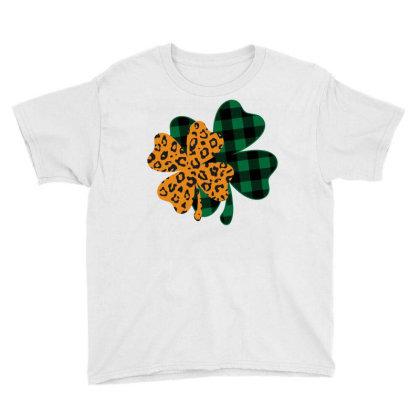 Leopard Printed Lucky Shamrock Youth Tee Designed By Badaudesign