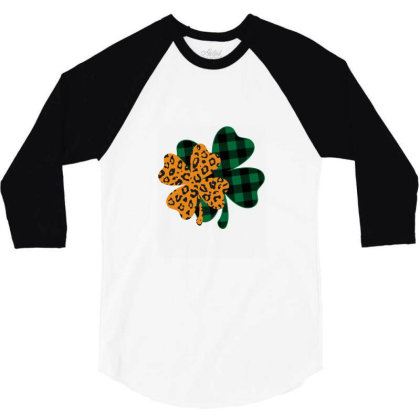 Leopard Printed Lucky Shamrock 3/4 Sleeve Shirt Designed By Badaudesign