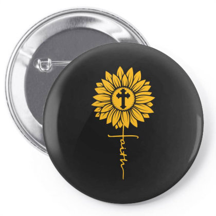 Sunflower Faith Cross Pin-back Button Designed By Badaudesign