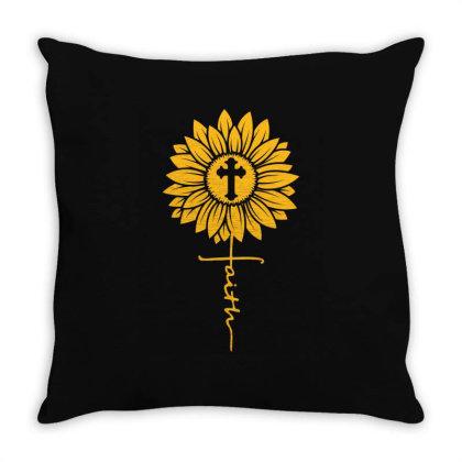 Sunflower Faith Cross Throw Pillow Designed By Badaudesign