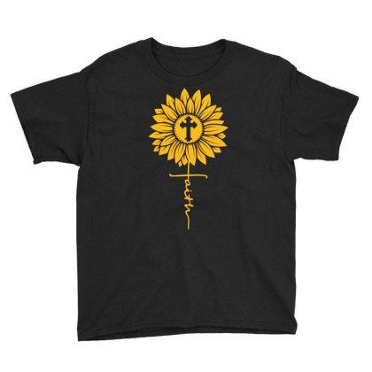 Sunflower Faith Cross Youth Tee Designed By Badaudesign
