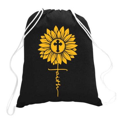 Sunflower Faith Cross Drawstring Bags Designed By Badaudesign