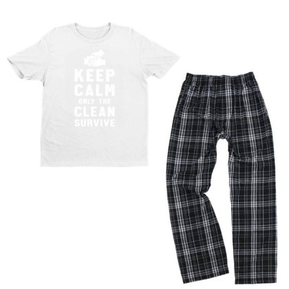 Keep Calm Only The Clean Survive Youth T-shirt Pajama Set Designed By Honeysuckle