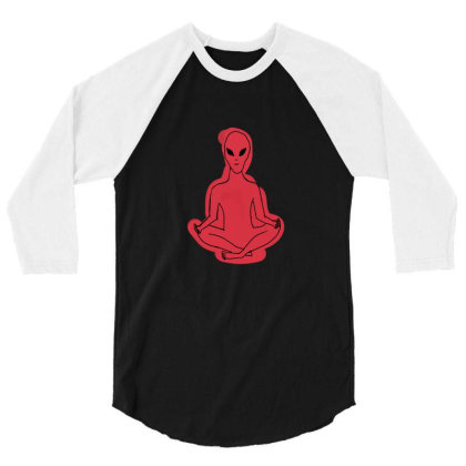 Alien Meditation 3/4 Sleeve Shirt Designed By Cypryanus