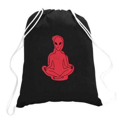 Alien Meditation Drawstring Bags Designed By Cypryanus